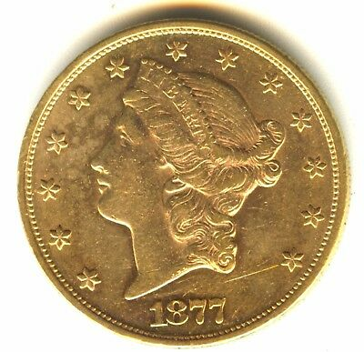 1877 S $20 Gold High Grade MS Double Eagle 100% Orig Excellent Strike Early Gold