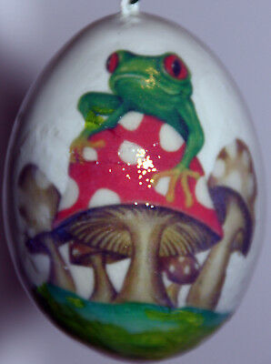 gourd Easter egg, yard art or Christmas ornament with frog