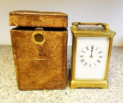 Antique Brass Carriage Clock Spares or Repair Chimes Hour & Half Past.