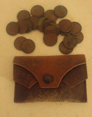 Vintage Leather Change Pouch With 23 Wheat Pennies  Old!!