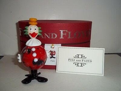 "Fitz & Floyd ""ZIPPY"" Hand Blown Glass Menagerie Limited Edition CLOWN NIB 4"""