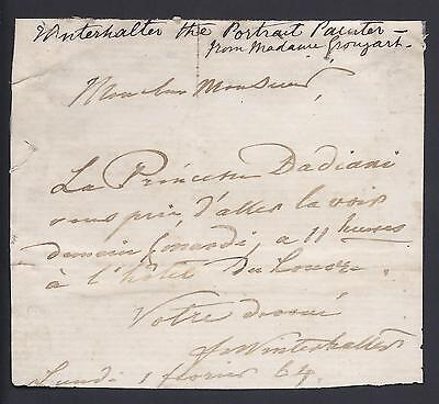 Franz Xaver Winterhalter to Princess Ekateriné Dadiani Rare Signed Note 1854