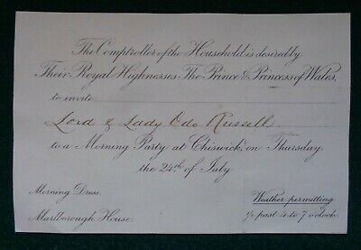 King Edward VII Invitation to a Morning Party in Chiswick for Lord Odo Russell