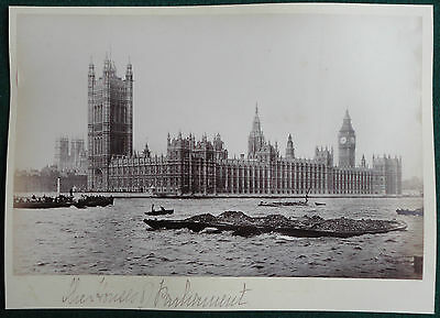 Palace of Westminster Houses of Parliament from the River Thames Antique Albumen