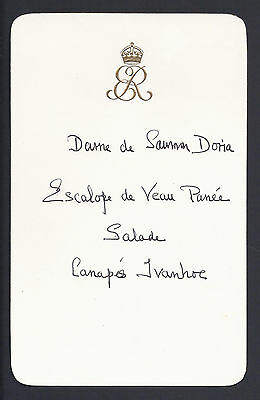 Rare Queen Elizabeth the Queen Mother Personal Handwritten Royal Menu