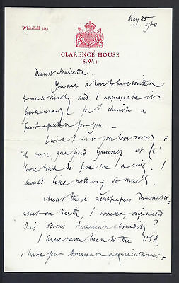 Sir Arthur Penn Signed Letter 1960 Marriage Queen Mother to Sir Arthur in USA