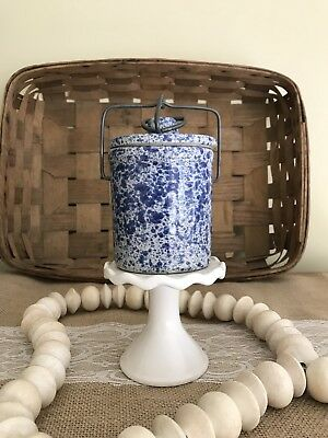 Vintage Spongeware Crock Cheese Butter Cobalt Blue And White With Bale Latch