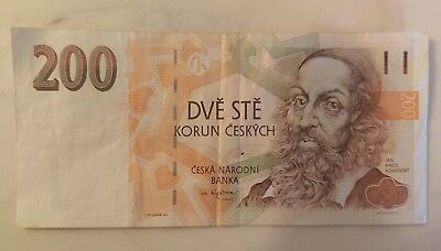 Czech Republic 200 Korun Dve Ste Bill Circulated