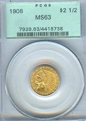 1908 Indian Quarter Eagle PCGS MS 63 $2.50 Gold Old Green Holder Very PQ