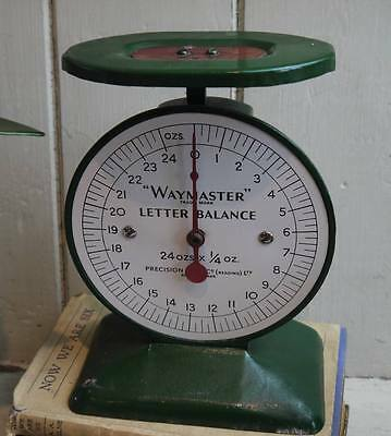 Vintage English Waymaster Letter Weighing Scales ~ Forest Green w/ White Face