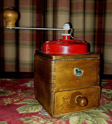 Vintage French Peugeot Freres Coffee Bean Grinder ~ Red Metal and Wood ~ Label