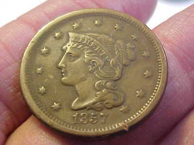 1857  Small Date Braided Hair  Large Cent  Very Fine Rare Coin With Rim Tick