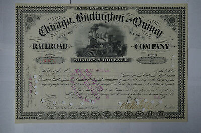 Chicago, Burlington and Quincy Railroad Stock Certificate (Cancelled), 1895