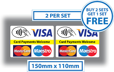 2x Card Payments Accepted Stickers Visa Mastercard Paypal Taxi Shop EPOS Decal