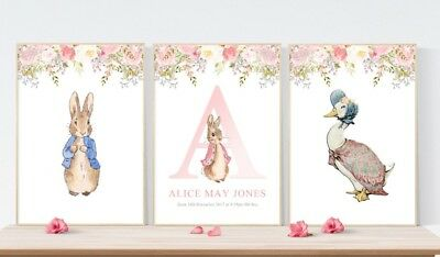 3 Peter Rabbit Jemima Duck Prints Personalised Name Nursery Wall Art Pictures