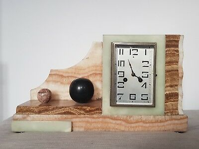Stunning Art Deco Marble French Mantle clock with Bell Chime
