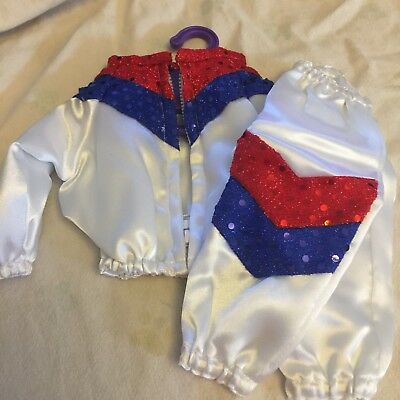 Magic Attic Club Doll Clothing Warmup Suit  Red White Blue