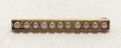 Vintage 14K Yellow Gold Seed Pearl Brooch L325