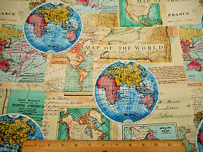 Cotton expedition world map ocean routes vintage cotton fabric print novelty fabric by the yard map of the world beige blue turquoise yellow cotton gumiabroncs Images
