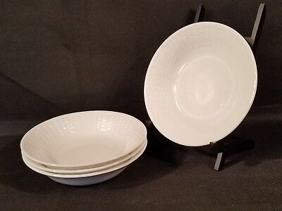 Set of 4 Wedgwood Nantucket Oatmeal Cereal Bowls All Purpose Basket Weave NWT