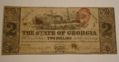 1863 Two Dollar $2 State of Georgia Confederate Treasury Bank Note