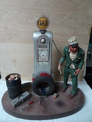 Michael Garman Good Ol' Days Gas Filling Station Handpainted Sculpture 1980 Orig