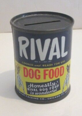 "Vintage Rival Dog Food Can Bank Chicago 32 Ill 2.75"" Tall Miniature Tin Can Ad"