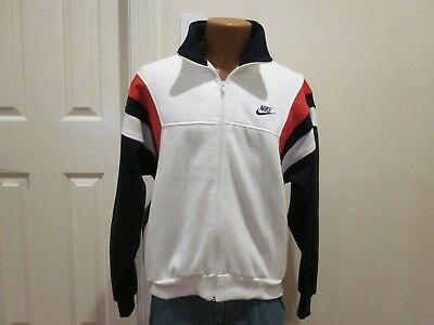 Vintage Nike Sweat Jacket 1980's-90's, Red, White & Blue, Polyester Rayon Cotton