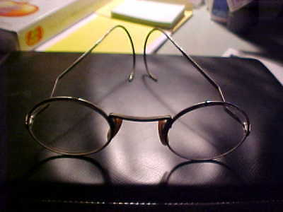 Antique/Vintage Shuron Wire Rimmed Glasses w/Case + Note Dads Gas Mask Glasses