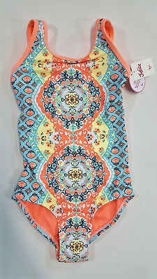 NWT Justice Girl Size 6 8 16 or 20 Orange Blue Sunny Print Tie Back Bathing Suit