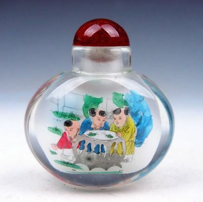 Peking Glass Inside *Kids At Play* Reverse Hand Painted Snuff Bottle #07011719