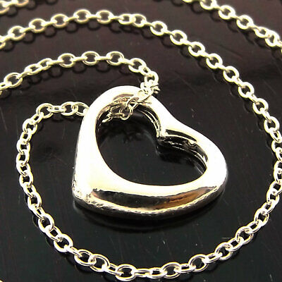 Necklace Chain Real 925 Sterling Silver S/F Solid Ladies Fine Link Heart Pendant