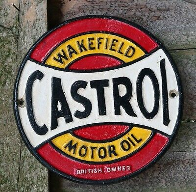 Castrol Wakefield Motor Oil Sign, British Owned Cast Iron Vintage Style Sign
