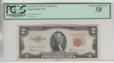 Legal Tender $2 Red Seal 1953-C STAR PCGS Graded choice about new 58