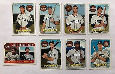 San Diego Padres 2018 Topps Heritage Base Team Set 1-400 *8 cards* Wil Myers