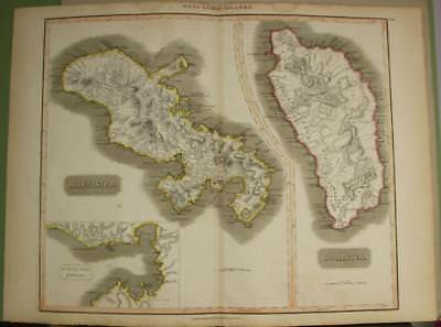 Martinique & Dominica  West Indies 1817 John Thomson Antique Copper Engraved Map