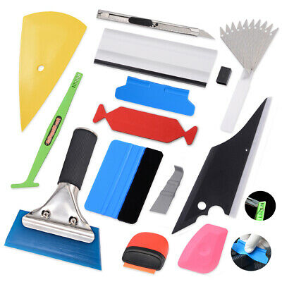 Car Wrap Vinyl Tools Kit Rubber Squeegee Micro Scraper Edge Felt Applicator USA
