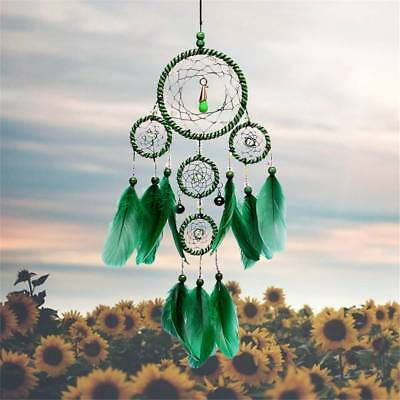 Dream Catcher With feathers Wall Hanging Decoration Decor Bead Ornament Green