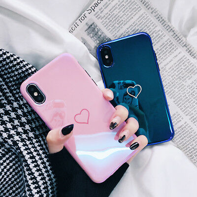 For iPhone X 8 7 6s Plus Shockproof Heart Pattern Glossy Mirror Soft Case Cover