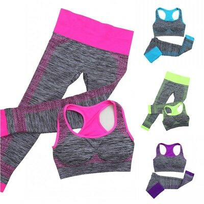 US Women's Stretch Yoga Workout Clothes Set Fitness Gym Running Sports Bra&Pants
