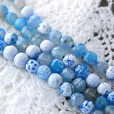 8mm Round BLUE Agate Beads Faceted Gemstone full strand 48 beads gag0379