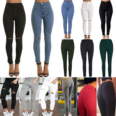 Women Slim Skinny Ripped Denim Pants Stretch High Waist Jeans Jeggings Trousers