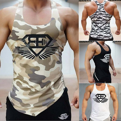 Mens Sleeveless Bodybuilding Tank Tops Gym T-Shirt Muscle Sports Vest Singlet AU
