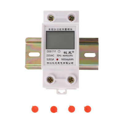 5(60)A 50HZ 220V Single Phase Din Rail KWH Watt Hour Din-rail Energy Meter LCD