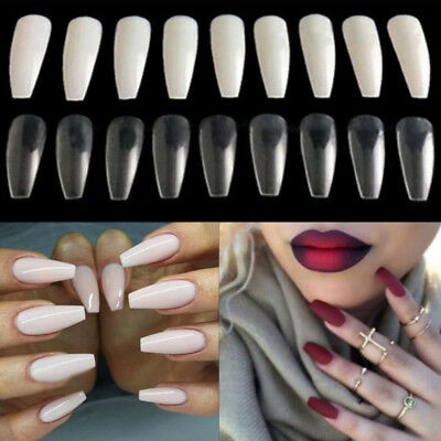 120/600Pcs Long Ballerina Coffin Shape Full Cover False Fake Nails Art Tip DIY