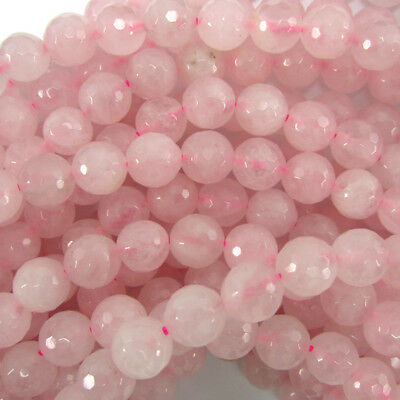 "Faceted Rose Quartz Round Beads Gemstone 15"" Strand 4mm 6mm 8mm 10mm 12mm"