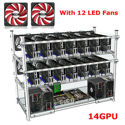 12/14GPU Crypto Coin Open Air Mining Miner Stackable Frame Rig Case W/ Fan