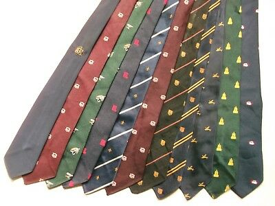 JOB LOT 35 X MENS VINTAGE CLUB ASSOCIATION CRESTED TIES 1950s 1960s 1970s JOBLOT