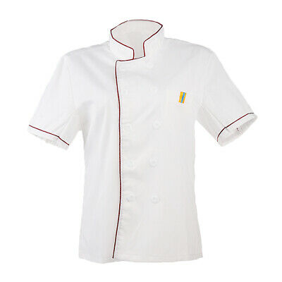 Unisex Men Women Chefs Cook Kitchen Short Sleeve Jacket Short Cooking Uniform