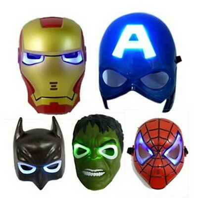 Superman Iron Man Hulk Spiderman Batman Captain Amerika LED Maske Leuchtet NEU